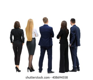 business people from the back - looking at something over a white background