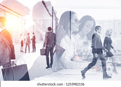 Business people brainstorming in office with double exposure of their colleagues in office lobby. Toned image