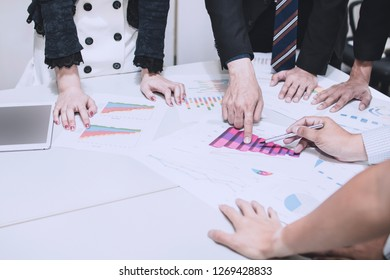 business people brainstorming, planing and discussing about finance in office