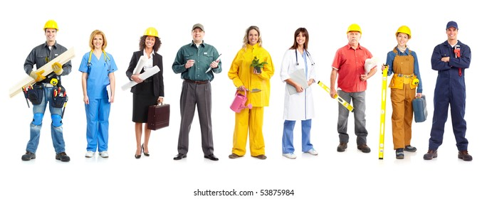Business people, builders, nurses, doctors, workers. Isolated over white background