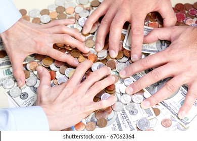 Business people with cash, money, bills, coins