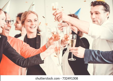 Business people celebrating 2018 New Year at office party