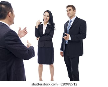 business people chatting, isolated on white background.