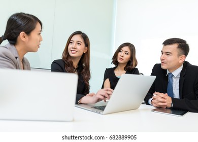 Business people chatting in office