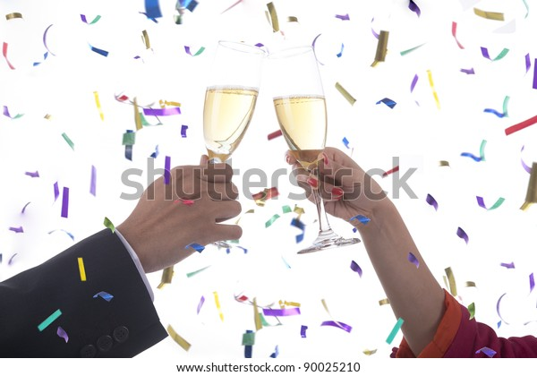 Business people cheering celebrating new year