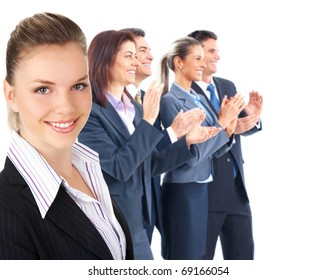 Business people clapping. Isolated over white background