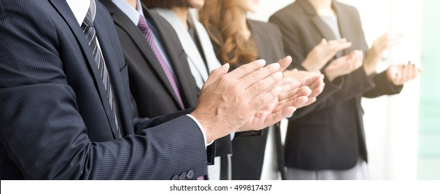 Business people  clapping their hands, panoramic banner -  congratulation and appreciation concepts