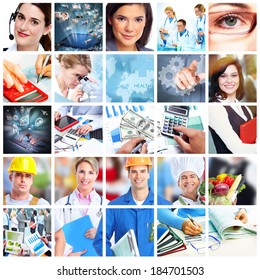 Business people collage. Accounting and technology background.