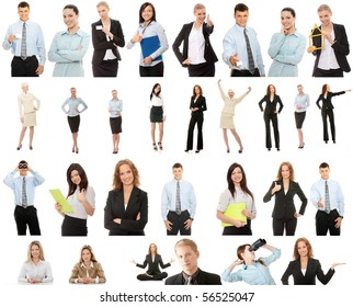 Business people collection, isolated on white background
