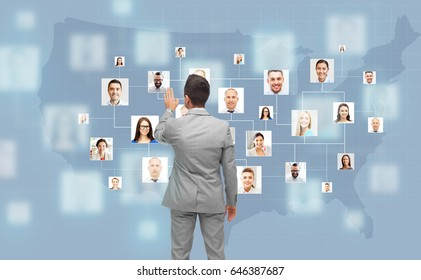 business, people, communication, cooperation and technology concept - businessman touching virtual screen with contacts icons and usa or america map over blue on background