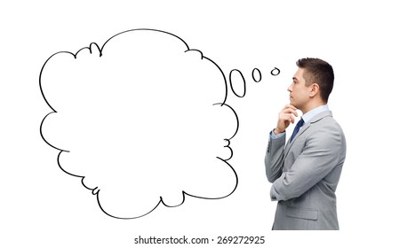 business, people, communication and information concept - thinking businessman in suit with text bubble doodle making decision