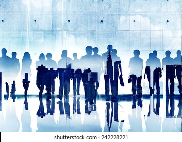 Business People Commuter Forward Walking Corporate Professional Concept