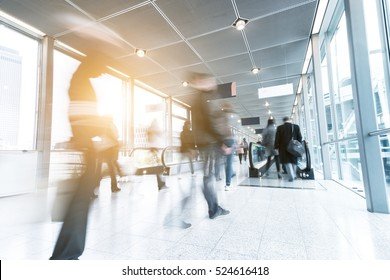 Business People Commuter Walking at Rush Hour on a fai