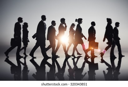 Business People Commuting Rush Hour Concept