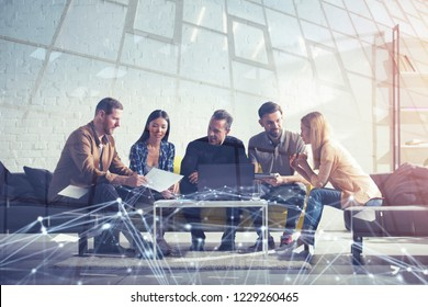 Business people connected on internet network with a laptop. concept of startup company. double exposure