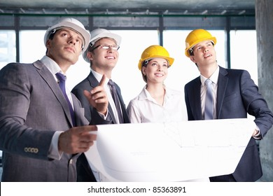 Business people at a construction site
