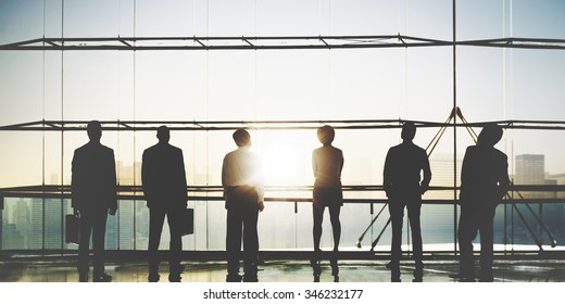 Business People Corporate Teamwork Aspiration Rear View Concept