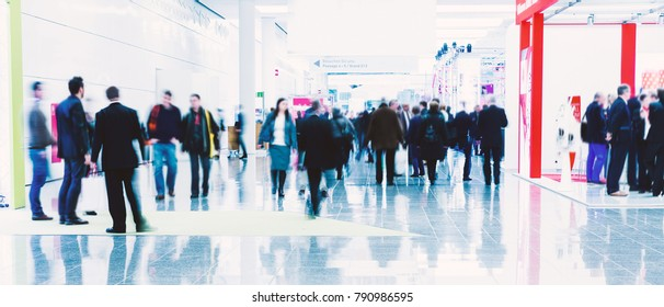 business people crowd at an expo concept