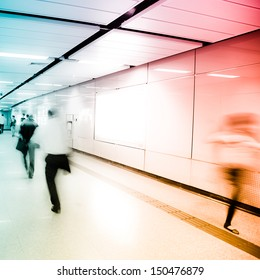 business people crowd walk at subway station abstract Blurred Motion