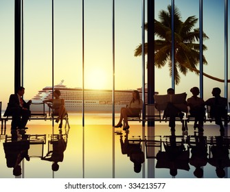 Business People Cruise Ship Travel Corporate Beach Concept