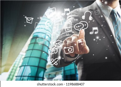 business, people, cyberspace and future technology concept - close up of businessman in suit working with virtual charts over dark background