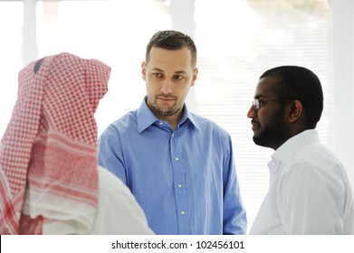 Business people different cultures and races talking