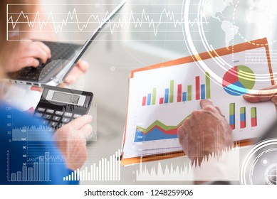 Business people discussing about financial results in office, overlayed with charts