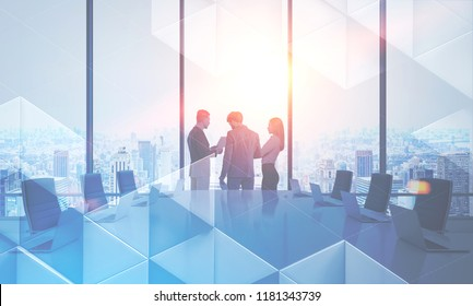 Business people discussing company issues in a large meeting room. Triangular tiles pattern in the foreground. Business success and teamwork concept. Toned image double exposure mock up.