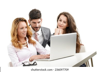 Business people discussing financial plan while working on laptop. Isolated on white background.