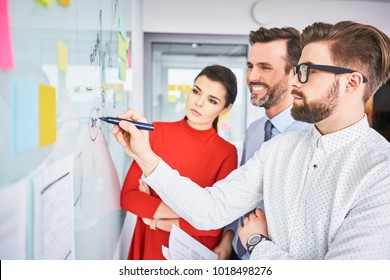 Business people discussing project on whiteboard in office
