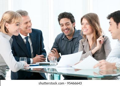 Business people discussing and working together during a meeting in office