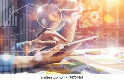 Business People Diverse Brainstorm Meeting Concept.Woman Working Smartphone Tablet Wood Table.Global Strategy Virtual Icon Graph Interface Marketing Researching Process.Young Team Startup Sharing