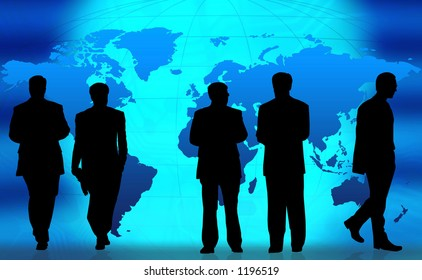 Business people doing different things in front of a world map.