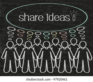 business people or employees share ideas on think bubble figure written with chalk on a blackboard background