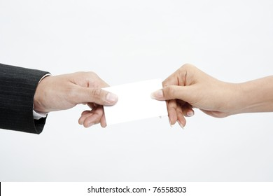 Business people exchanged business cards