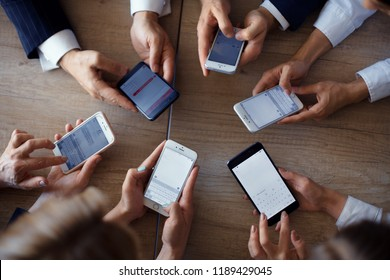 Business people exchanging working data on phone by using office application. Business concept.