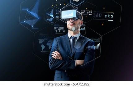 business, people and future technology concept - businessman in headset over black background with virtual screens