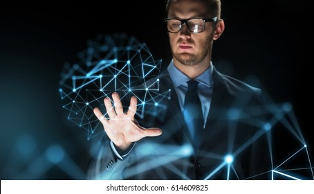 business, people, future technology and cyberspace concept - close up of businessman touching virtual projection over dark background