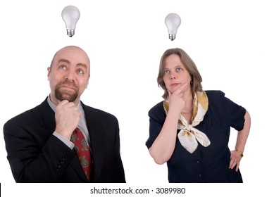 Business people getting ideas with light-bulds over their heads isolated over white