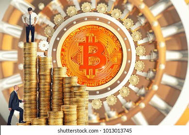 business people go up on money stair with bitcoin vault door background