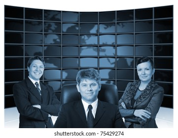 Business people. Group of people and big virtual the monitor with the image map the earths on a background.