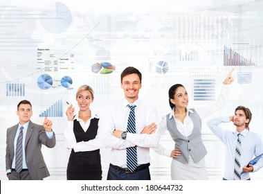 Business people group team leader, concept graph finance chart diagram background, business people sketches, point finger, Businessmen folded hands smile, colleague