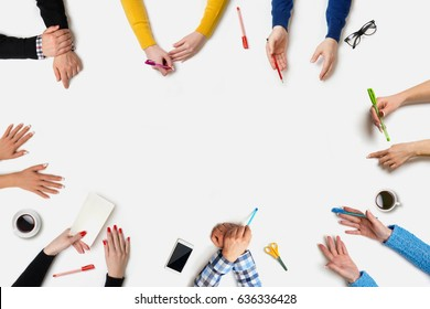 Business people group works at a table - Table