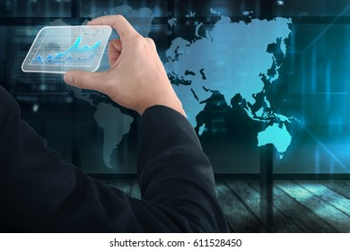 Business people hand holding virtual business card with digital chart with world map on background