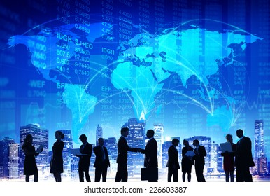 Business People Hand Shake Stock Exchange City Concept