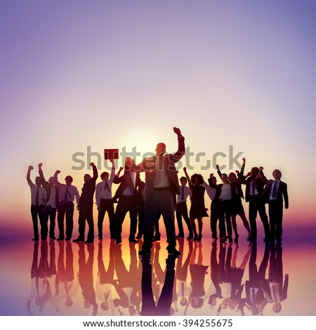 Business People Hands Raised Rooftop Success Concept