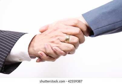 Business people, handshake between man and woman