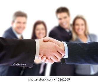 Business people. Handshake of businessmen. Over white background