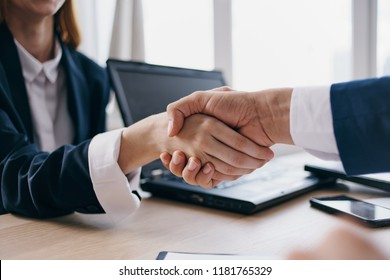 Business people handshake office