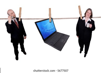 Business people hanging on a clothesline isolated on a white background